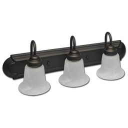 Picture of 3-LIGHT VANITY FIXTURE - OIL RUBBED BRONZE WITH ALABASTER GLASS GU24 BULBS