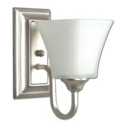"Picture of 5"" 1-LIGHT SQUARE GLASS VANITY LIGHT FIXTURE - SATIN NICKEL"