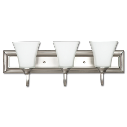 "Picture of 24"" 3-LIGHT SQUARE GLASS VANITY LIGHT FIXTURE - SATIN NICKEL"