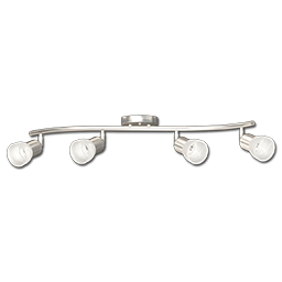 Picture of 4-LIGHT WAVE TRACK LIGHT WITH GU10 SOCKET - BRUSHED NICKEL WITH FROSTED GLASS