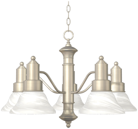 Picture of 5-LIGHT CHANDELIER - SATIN NICKEL WITH ALABASTER GLASS