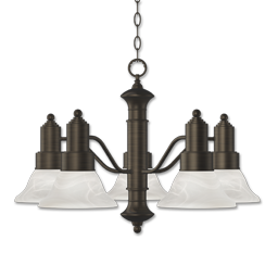 Picture of 5-LIGHT CHANDELIER - OIL RUBBED BRONZE WITH ALABASTER GLASS