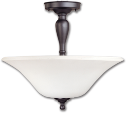 Picture of 3 LIGHT SEMI-FLUSH CEILING FIXTURE - OIL RUBBED BRONZE WITH ALABASTER GLASS