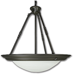 """Picture of 20"""" 3 LIGHT PENDANT FIXTURE - OIL RUBBED BRONZE WITH ALABASTER GLASS"""