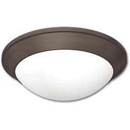 """Picture of 12"""" FLUORESCENT CEILING FIXTURE - OIL RUBBED BRONZE WITH ALABASTER TWIST-ON GLASS"""