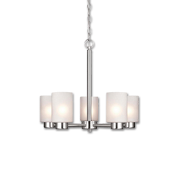 "Picture of 20"" 5 LIGHT CHANDELIER - BRUSHED NICKEL WITH FROSTED SEEDED GLASS"