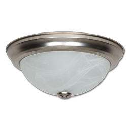 "Picture of 11"" 16 WATT LED CEILING FIXTURE WITH FAUX ALABASTER GLASS - SATIN NICKEL"