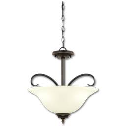 "Picture of 16"" CONVERTIBLE PENDANT/SEMI-FLUSH CEILING FIXTURE - AMBER BRONZE"