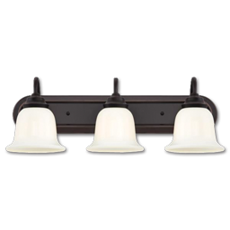 Picture of 3 LIGHT VANITY FIXTURE - AMBER BRONZE WITH WHITE OPAL GLASS