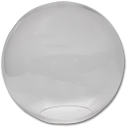 "Picture of 12"" CLEAR PLASTIC BALL 5-1/4"" FLUSH"