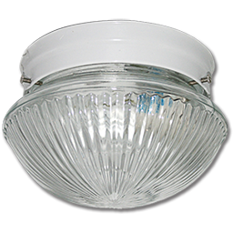 "Picture of 6"" CLEAR RIBBED MUSHROOM FIXTURE - WHITE"