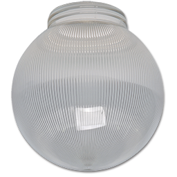 "Picture of 6"" CLEAR RIBBED PLASTIC GLOBE W/ 3 1/4"" THREADED FITTER"