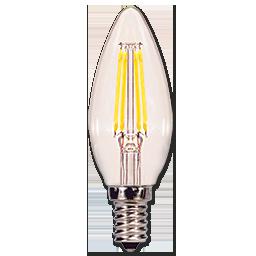 4W TORPEDO FILAMENT LED BULB - 2700K - CANDELABRA BASE - 6/PK