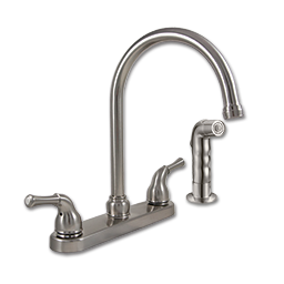 Picture of WHITEFALLS TWO HANDLE ARC-SPOUT KITCHEN FAUCET WITH SPRAY - WASHERLESS - BRUSHED NICKEL