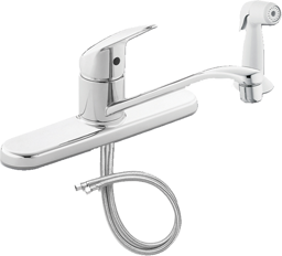 "Picture of CFG CORNERSTONE SINGLE LEVER KITCHEN FAUCET WITH SPRAY WITH 3/8""X24"" FLEXIBLE SUPPLY LINES - CHROME"