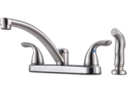Picture of PFISTER TWO METAL HANDLE KITCHEN FAUCET WITH SPRAY - STAINLESS STEEL