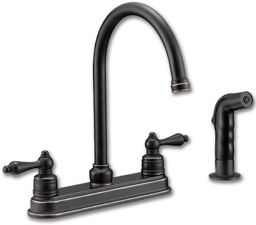 Picture of WHITEFALLS TWO HANDLE KITCHEN FAUCET WITH SPRAY - OIL RUBBED BRONZE