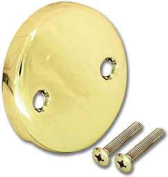 Picture of BLANK TWO HOLE ROUND OVERFLOW PLATE - POLISHED BRASS