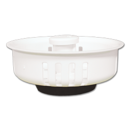 "Picture of WHITE PLASTIC BASKET STRAINER - 3-1/2"" DIAMETER RUBBER BOTTOM"