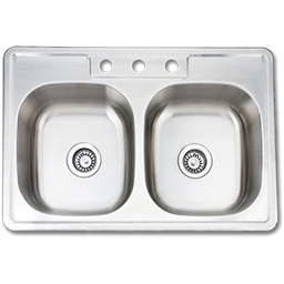"""Picture of 33""""X22"""" X 6"""" DOUBLE BOWL STAINLESS STEEL SINK 3 HOLE W/PULL CLIPS  22GA."""