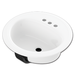 "Picture of 19"" ROUND LAVATORY SINK PORCELAIN ON STEEL - WHITE"