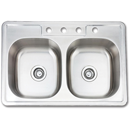 """Picture of 33""""X22"""" X 6"""" DOUBLE BOWL STAINLESS STEEL SINK 4 HOLE W/PULL CLIPS 22GA."""