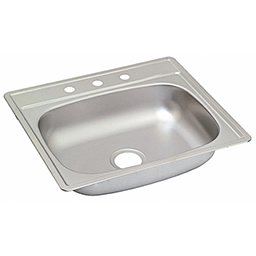 "Picture of 25""X22"" X 6"" SINGLE BOWL STAINLESS STEEL SINK 3 HOLE W/PULL CLIPS 22GA."