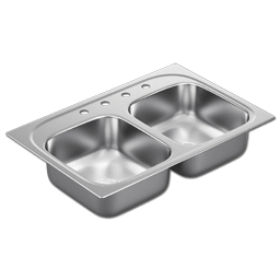 "Picture of 33""X22"" X 8"" DOUBLE BOWL STAINLESS STEEL SINK - 4 HOLE 20GA."