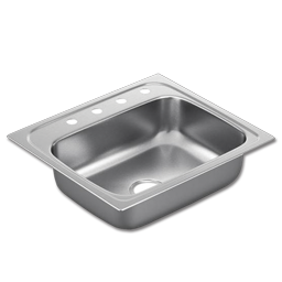 "Picture of 25""X22"" x 7"" SINGLE BOWL STAINLESS STEEL SINK - 4 HOLE 22GA."
