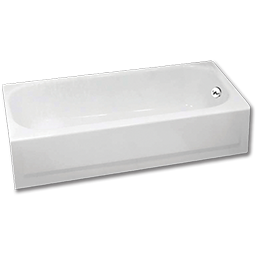 "Picture of 5' RIGHT HAND BATH TUB - 60"" X 30"" X 14-1/4"" WHITE PORCELAIN ENAMELED STEEL"