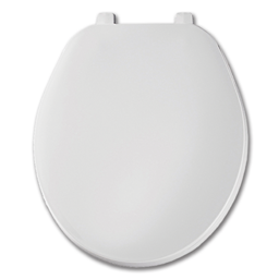 Picture of WHITE SLOW CLOSE ROUND PLASTIC TOILET SEAT WITH CLOSED FRONT