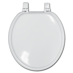 Picture of WHITE ROUND WOOD TOILET SEAT