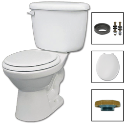 Picture of WHITEFALL COMPLETE TOILET-IN-A-BOX - 1.6 GALLON WHITE ROUND FRONT
