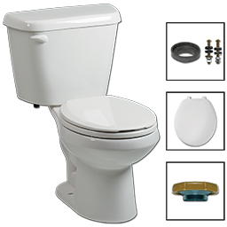 Picture of BRIGGS COMPLETE TOILET-IN-A-BOX - 1.0 GPF WHITE ROUND FRONT