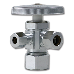 """Picture of 5/8"""" COMP X 3/8"""" OD COMP X 1/4"""" OD COMP 3-WAY COMPRESSION STOP FOR ICE MAKER"""