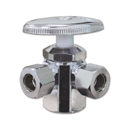 """Picture of 1/2"""" FIP X 3/8"""" OD COMP X 3/8"""" OD COMP 3-WAY ANGLE STOP"""
