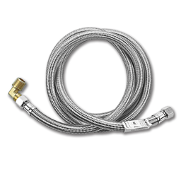 """Picture of 3/8"""" COMP X 3/8"""" MIP ELBOW X 60"""" STAINLESS STEEL DISHWASHER SUPPLY LINE"""