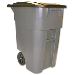 50 GALLON ROLL-OUT TRASH CAN - GRAY