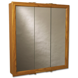 "Picture of 30"" X 25-3/4"" TRI-VIEW MEDICINE CABINET - OAK"