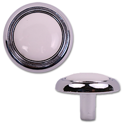 """Picture of 1-1/4"""" CABINET KNOB - WHITE AND CHROME - 5/PK"""