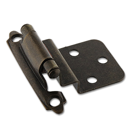 "Picture of 3/8"" INSET SELF CLOSING HINGE PAIR - ANTIQUE BRASS"