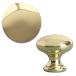 "Picture of 1-1/4"" POLISHED BRASS CABINET KNOB 5/PK"