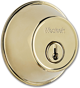 Picture of WESLOCK DOUBLE CYLINDER DEADBOLT - POLISHED BRASS