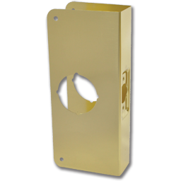 "Picture of 4"" X 9"" 1-HOLE DOOR RE-INFORCER 2-3/8"" BACKSET - POLISHED BRASS"