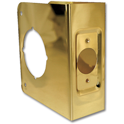 "Picture of 4-1/2""H X 4-5/16""W 1-HOLE DOOR REINFORCER 2-3/4"" BACKSET - POLISHED BRASS"