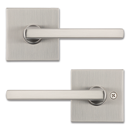 Picture of KWIKSET HALIFAX SQUARE SATIN NICKEL PASSAGE LEVER - SATIN NICKEL