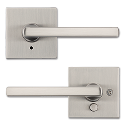 Picture of KWIKSET HALIFAX SQUARE SATIN NICKEL PRIVACY LEVER - SATIN NICKEL