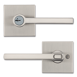 Picture of KWIKSET HALIFAX SQUARE SATIN NICKEL KEYED ENTRY WITH SMARTKEY - SATIN NICKEL