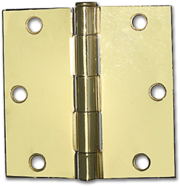 "Picture of 3-1/2"" SQUARE CORNER HINGE, PAIR - POLISHED BRASS"