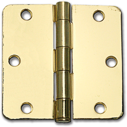 "Picture of 3-1/2"" DOOR HINGE 1/4"" RADIUS, PAIR - POLISHED BRASS"